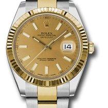 Rolex Datejust II Acero y oro 41mm Champán Sin cifras