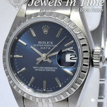 Rolex Oyster Perpetual Lady Date Staal 26mm Blauw Geen cijfers