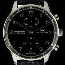IWC S/S Unworn Black Dial Portuguese Chronograph B&P IW371447