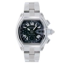 Cartier Roadster XL Chronograph Stainless Steel Watch Black Dial