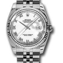 Rolex Datejust  Ghiera Oro Bianco Quadrante Bianco Romani -...