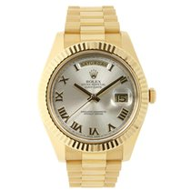 Rolex DAY-DATE II 41mm 18K Yellow Gold Silver Roman