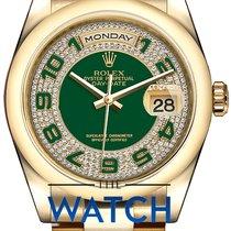 Rolex Day-Date 36 Zuto zlato 36mm Zelen Arapski brojevi