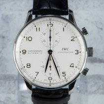 IWC Portuguese Chronograph begagnad 41mm Silver Kronograf Krokodilläder