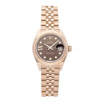 Rolex Rose gold Automatic Brown Roman numerals 28mm pre-owned Lady-Datejust