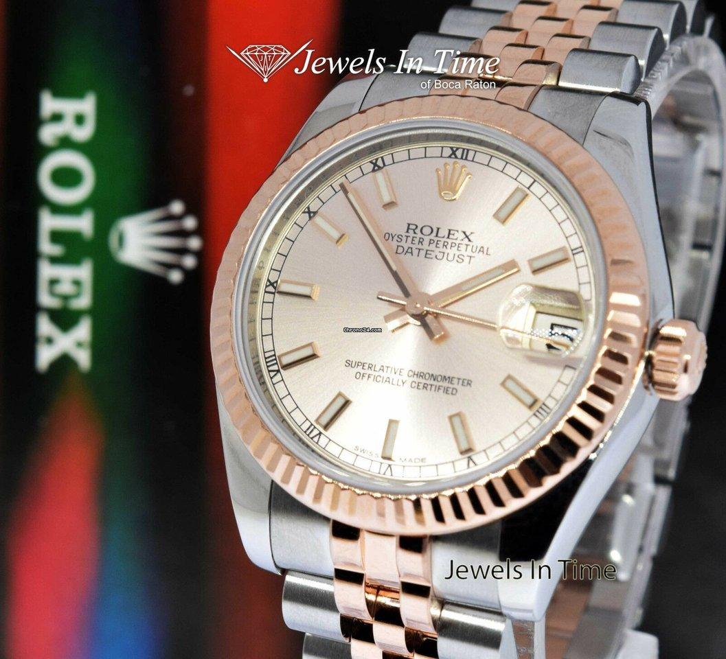Rolex Datejust 31 18k Rose Gold Steel Watch Pink Dial Jubilee 178271
