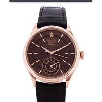 Rolex Cellini Dual Time Rose gold 39mm Brown