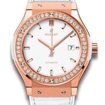 Hublot Classic Fusion Quartz White 18K King Gold diamonds...