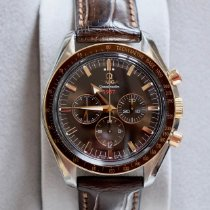 Omega Speedmaster Broad Arrow Gull/Stål 42mm Brun Ingen tall