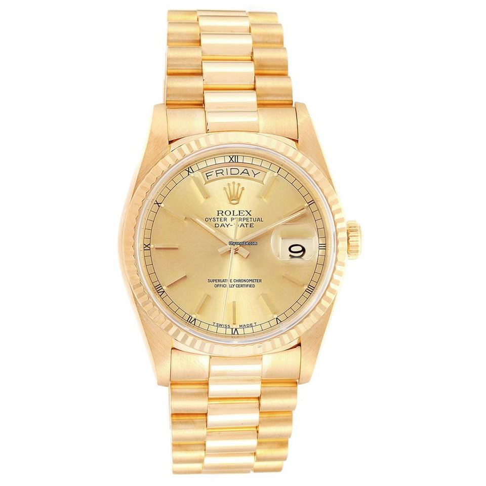 Rolex President Day Date 36 Yellow Gold Champagne Dial Mens Watch 18238