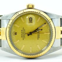Rolex Datejust Two Tone 36mm With Champagne Linen Dial