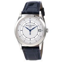 Patek Philippe Calatrava 38mm White Gold Blue Leather Strap