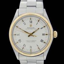 Rolex Oyster Perpetual 34 Or/Acier 34mm Blanc Sans chiffres