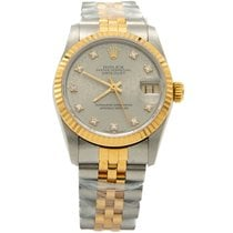 Rolex Otel Atomat Rolex Grey Diamond Dial Gold & Steel Date Just folosit