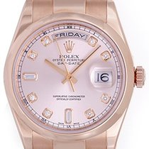 Rolex President Day-Date Men's 18k Rose Gold Diamond Watch...