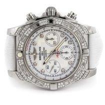 Breitling Chronomat 41 Diamond Bezel White Dial White Sahara...