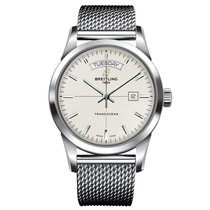 Breitling Transocean Day & Date Steel 43mm Silver No numerals United States of America, New York, New York