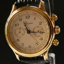 Lemania Chronograph 36mm Handaufzug 1980 gebraucht Champagnerfarben