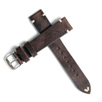 Rolex Vintage Handmade Leather Strap Chocolate Brown 18mm