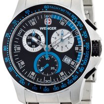 Wenger Battalion Chrono Sport Steel Mens Watch Calendar Black...