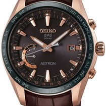 Seiko Astron GPS Solar Chronograph Steel 45mm Brown No numerals