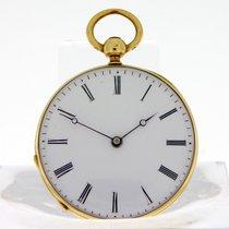 Pocketwatch Breguet Style Gold Case 18kt 5gr Bra Gult gull 32mm Manuelt