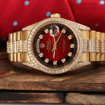 Rolex Presidential Day Date Red Vignette Dial Diamond Watch 18038