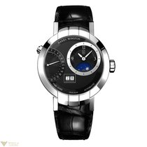 Harry Winston Premier Excenter 18K White Gold Leather Mens Watch