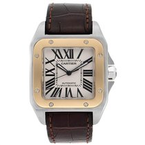 Cartier Santos 100 pre-owned 38mm Silver Leather