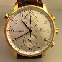 IWC Yellow gold Manual winding White 40.9mm pre-owned Portuguese Chronograph