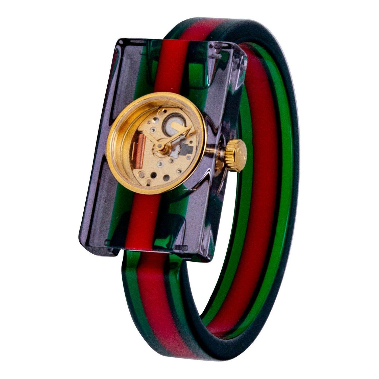 40be2f8e216 Gucci YA143501 Fashion Show Skeleton Dial Plexiglas Bangle Ladies Watch