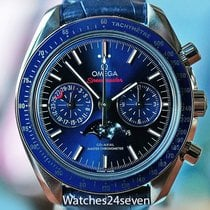 Omega Speedmaster Professional Moonwatch Moonphase occasion 231mm Bleu Phase lunaire Chronographe Date Tachymètre Cuir de crocodile