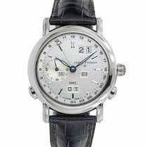 Ulysse Nardin White gold Automatic Silver 38mm pre-owned GMT +/- Perpetual