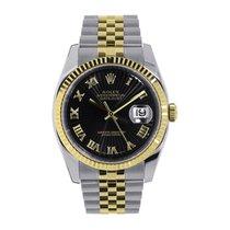 Rolex Datejust 36 Steel & 18K Yellow Gold Black Roman Dial 116233