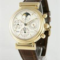 IWC Da Vinci (submodel) gebraucht 39mm Silber Mondphase Chronograph Tourbillon Datum Wochentagsanzeige Monatsanzeige Ewiger Kalender Krokodilleder