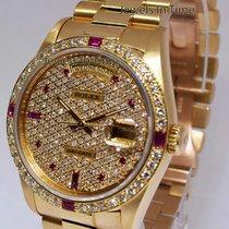 Rolex Day-Date President 18k Yellow Gold Diamond/Ruby Watch...
