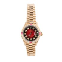 Rolex Ladies 18K Gold President -Red Vignette Diamond Dial -...