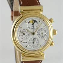 IWC Yellow gold Automatic White 39mm pre-owned Da Vinci Perpetual Calendar