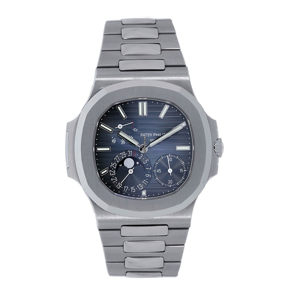 Patek philippe nautilus 40mm stainless steel moonphase blue for 73 999 for sale from a for Patek philippe moonphase