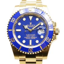 勞力士 Submariner(date) 18 K Yellow Gold Blue Automatic 116618LB