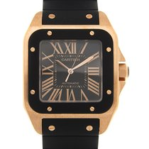 Cartier Rose gold Automatic Black 51.1mm new Santos 100