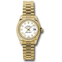 Rolex Yellow gold Automatic White 26mm new Lady-Datejust