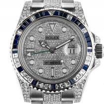 Rolex GMT Master II Custom Full Diamond 7,5ct Saphire Stahl...
