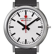 Mondaine STOP 2 GO 41mm Black Leather Strap  White Dial...